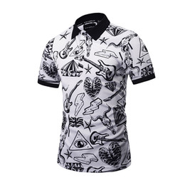 Barato Polo 3d-Preto Branco Vintage Full 3D Impresso Hip Hop Polo Homens Men Short Sleeve 2017 Verão Novo Moda Turn-down Colar Mens Polo