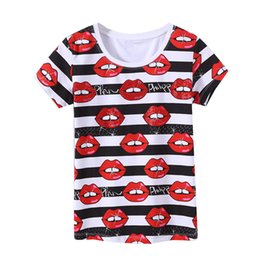 Discount red lips clothing - Wholesale- KEQI Free Shipping Casual Women Kiss Red Lips Printed T shirt Summer Short Sleeve Stretch T-shirt Tops Tees W