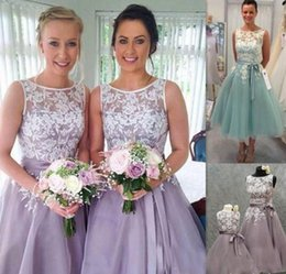 navy organza bridesmaid dresses NZ - Lavender Mint Bridesmaid Dresses Applique Lace And Organza Tea Length Bridesmaid Gowns Formal Party Prom Gowns Cheap 2017