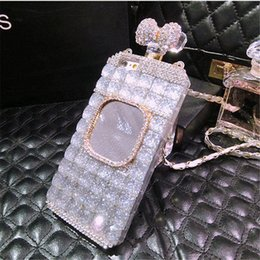 Chains For Mirrors Australia - 50pcs Luxury Diamond Perfume Bottle Bow Rose Mirror chain case for Huawei p8 p9 lite plus Samsung galaxy s7 s8 edge plus