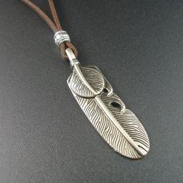 9c6bdf5a00ec Trendy Fashion Collars Long Leather Vintage Alloy Feather Pendants  Necklaces for Women Men Jewelry 2016