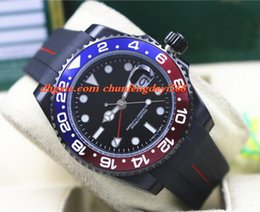 Men Luxury Rubber Watches Canada - Fashion Luxury 2017 116719 PVD Coating Red Blue Ceramic Bezel Rubber Bracelet 40MM Automatic Movement Men Watches New Arrival