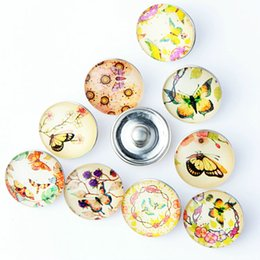 Glass Snap Button Charms NZ - 20PCS New Bebutterfly Glass Snap Button For Ginger 18mm Snaps Button Bracelet Necklace Jewelry