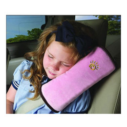 Blue Gray Car NZ - New Arrival Safety Belt Baby Girl Children Safety Protection Strap Car Seat Belt Pillow Shoulder Padding Yellow Gray Blue Pink Beige