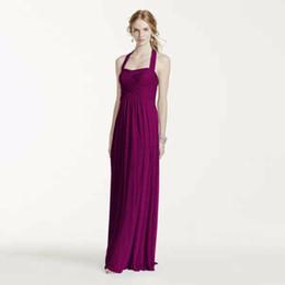 $enCountryForm.capitalKeyWord UK - Empire Waistline Long Halter Chiffon Bridesmaid Dress Ruched Bodice W10486 Wedding Party Dress Evening Dress Formal Dresses