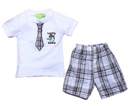 $enCountryForm.capitalKeyWord NZ - summer baby boys clothes sets printed tie t shirts boy children plaid shorts kids white crocodile tees boy school suit clothing suits
