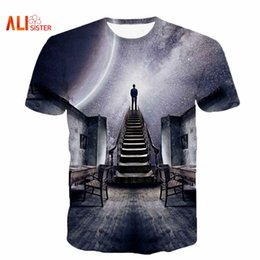 tee 3d Australia - Alisister Men Women's Galaxy Space T-Shirt Print I Could See The Universe 3D T Shirt Casual Unisex Tshirts Harajuku Tee Shirt 17310