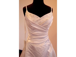 bridal robe sleeveless UK - Real Made Cheap Beaded Spathettic Straps Sweetheart Pleated Bridal Gown Wedding Dresses Custom Size Robe De Marriage Casamento