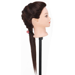 "mannequin head hairdressing UK - 22"" Synthetic Hair High Temperature Fiber Hairdressing Training Head Practice Mannequin Head With Clamp Free Shipping"