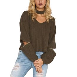 Chandail Tricoté Punk Pas Cher-Fashion-Autumn Winter Pullover Femmes Nice Sweat à manches tricotées V-neck Open Zipper Sleeve Jumpers Punk Fashion Choker Pull Femme Tricot