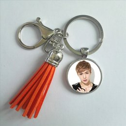 gifts for photo lovers 2019 - 2017 Fashion EXO Tassel Key Chain KPOP Star Keyring Gifts For Fans Handmade Photo Keychain Silver Bohemian Jewelry disco