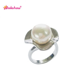 $enCountryForm.capitalKeyWord Canada - Silver flower pearl ring for women jewelry fashion engagement rings ladies jewellery collier femme 2017 | RN-406