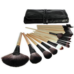 Barato Pó De Sombra Preto-2017 New Arrival Makeup Brushes 24pcs Set com 3 cores Pink Black Wood Handle Eyeshadow Powder Brushes Great Makeup Free Shipping