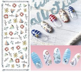 Ongles Conçus Pas Cher-Vente en gros- DS216 Bricolage ongles Design Water Transfer ongles Art Autocollant Cartoon Fish Ancres Ocean Nail Wraps Autocollant Watermark Fingernails Decals