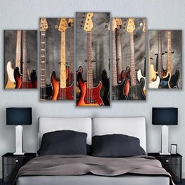 Discount guitar art posters 5 Pcs Set Canvas Pictures HD Prints Wall Art Musical Instrument Guitar Paintings Home Decor Bass Guitar Collage Posters