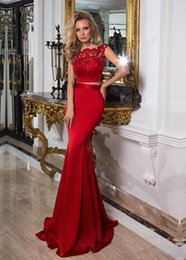 Fitted Piece Dresses Canada - New 2017 Red Satin Two Pieces Mermaid Evening Dresses With Bateau Neckline Covered Button Back Fitted Prom Dress Formal Gowns Cheap