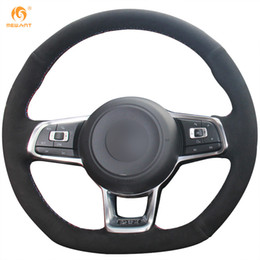 polo scirocco UK - Mewant Black Suede Car Steering Wheel Cover for Volkswagen Golf 7 GTI Golf R MK7 VW Polo GTI Scirocco 2015 2016