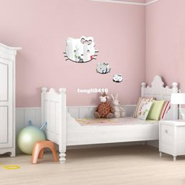 3Pieces Hello Kitty Cartoon Cat DIY Mirror Wall Sticker,Removable Home Decor,cute  For Kids Room Girl Room Decoration Part 37