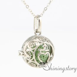 $enCountryForm.capitalKeyWord NZ - flower ball metal volcanic stone aromatherapy inhaler necklace with charms heart shaped locket necklace aromatherapy pendants wholesale