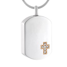 Urn Pendants NZ - IJD9816 Dog Tags Cross pendant 316l stainless steel cremation jewelry unique ashes necklace memorial keepsake urn with free shipping