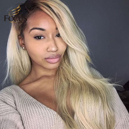 $enCountryForm.capitalKeyWord Australia - Dark Roots Lace Front Wig 1B 613 Full Lace Human Hair Wigs For Black Women 130 Density Light Blonde Natural Straight Wig