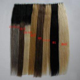 Ingrosso # 27 # 1 # 60 # 1b / grigio # 1b / 8 # 1b / Nastro nelle estensioni dei capelli umani 40 pezzi Capelli biondi brasiliani Ombre diritte naturali Capelli vergini Remy 100g