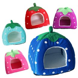 Cat Baskets Beds Canada - Soft Strawberry Pet Dog House Nest Cat Rabbit Bed House Sofas Kennel Doggy Warm Cushion Basket Size S~L 5 Colors Leopard