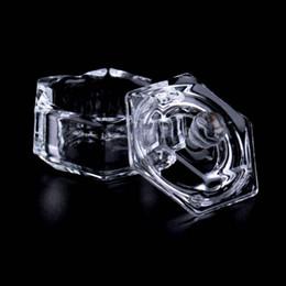 Discount glass nail art tools - Wholesale- Top Quality Nail Art Acrylic Crystal Glass Dappen Dish Bowl Cup with Cap Liquid Glitter Powder Caviar Nail St
