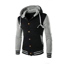 Varsity Hoodies Canada - Wholesale- New Hooded Baseball Jacket Men 2016 Slim Hoodie Warm Mens Slim Fit Varsity Jacket Brand Stylish College Jacekt Veste Homme