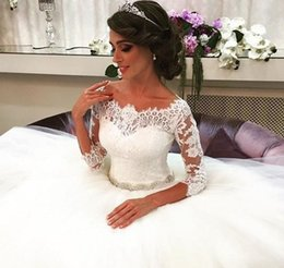 short wedding dress quarter sleeves NZ - Custom Made Lovely Princess Ball Gown Bride Dresses 2016 Three Quarter Sleeves Boat Neck Beaded Lace Wedding Dress Wedding Dresses
