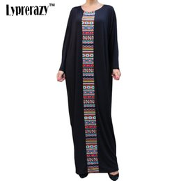 Barato Casual Vestido Preto Longo Praia-Womens Bohemian 2017 Summer Long Sleeve Casual Print O Neck Tunic Beach Party Long Maxi Black vestido de festa boho
