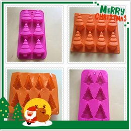 christmas pudding moulds UK - Wholesale Christmas tree silicone kitchen baking molds for handmade cake chocolate ice soap candy pudding mousse bread bakeware suppies