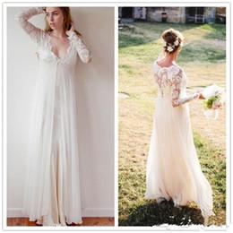 $enCountryForm.capitalKeyWord Canada - 2017 New Chiffon V Neck Bohemian Lace Wedding Gowns Sheath Boho Wedding Dresses Transparent Long Sleeve Beach Empire Maternity Formal Dress