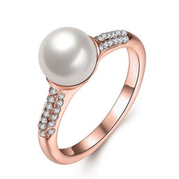 $enCountryForm.capitalKeyWord Canada - Fashion Pearl Ring Wedding Party Rose Gold Plated Crystal Rhinestone Finger Ring for Women Christmas gift Wholesale Jewelry Free shipping