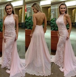 Barato Luz Rosa Backless Vestidos De Baile-Sexy Light Pink Halter Backless Prom Dresses 2017 Mermaid Lace Appliques Beaded Long Evening Party Gowns