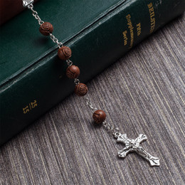 $enCountryForm.capitalKeyWord Australia - Rosary Beads Necklaces For Women High Quality Diy Jesus Christian Cross Pendant Necklaces Long Chain Jewelry Bohemian Christmas Gift