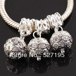 Bracelets Big Balls NZ - Free Shipping Crystal Rhinestone Silver Plated Big Hole Dangle Beads , Fit Chain & Bracelet & Pendant Metal Balls