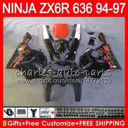 $enCountryForm.capitalKeyWord Australia - 8Gifts 23Colors For KAWASAKI NINJA ZX636 ZX6R 94 95 96 97 ZX 636 ZX 6R 33NO50 gloss black 600CC ZX-636 ZX-6R 1994 1995 1996 1997 Fairing kit