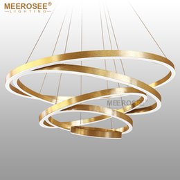 Gold Switches Canada - Large Rings LED Pendant Lights Gold Hanging Lamp for Restaurant Pendant Lamp Acrylic Circle Lampadario Lustres Lighting