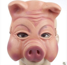 Discount pig costumes - Hot Sale Pig Mask Party Mask Adjustable Suitable For Adult Child Creepy Pig Half Mask Animal Halloween Costumes Latex Ru
