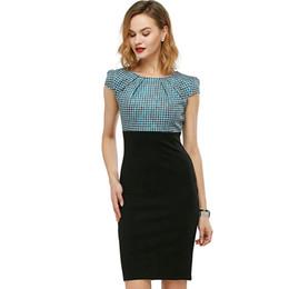 6ae869c21717 Collared empire waist dress online shopping - Women Check Plaid Cap Sleeve  Work Dress High Waist
