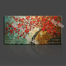 simple flower oil painting Canada - Nice red flowers tree hand painted landscape oil painting on canvas modern simple wall art painting for home decoration