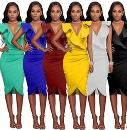 Fête Des Dames Sexy Pas Cher-S-XL Women Party Prom Robes Mode sexy Deep V Package Nouettement Robe Leaf Sleeveless Ladies bodycon dress 2017