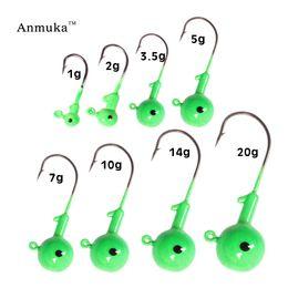 fishing lure heads 2019 - q0205 Anmuka Jig Head Hooks Eye 1g 2g 3.5g 5g 7g 10g 14g 20g Noctilucous Fishing Lead lures headed hook jigging bait fis