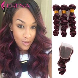 Discount burgundy wavy hair - Brazilian Ombre Human Hair 99J Burgundy Wine Red Ombre Hair Weave Bundles Loose Wave Wavy Human Hair Extensions 4Pcs Lot