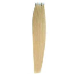Discount blonde remy tape hair extensions - Wholesale- #613 Bleach Blonde Brazilian Hair Skin Weft Tape Hair Extensions 50g 20pcs 8A Double Drawn Tape Hair Extensio