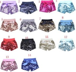 China Baby Sequins Shorts Pants Casual Pants Fashion Infant Glitter Bling Dance Boutique Bow Princess Shorts Kids Clothes 14 color cheap casual lolita fashion suppliers