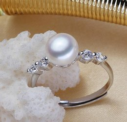9mm pearl size Canada - Wholesale 8-9mm white pink purple three colors oblate Natural pearl ring 925 silver JZ0008