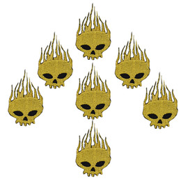 skull embroidered patches NZ - 10pcs golden Skull badge patches for clothing iron embroidered patch applique iron on patches sewing accessories for Diy clothes