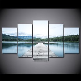 Discount animal picture frames - HD Printed 5 Piece Canvas Art Lake Bridge Painting Forest Landscape Canvas Prints Decoration Picture Free Shipping